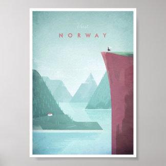 Poster van de Reis van Noorwegen het Vintage