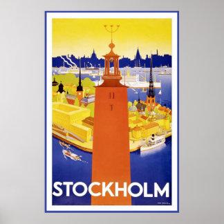 """Poster van de Reis van """"Stockholm"""" het Vintage"""