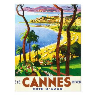 Poster van de Reis van vintage van Cannes D'Azur Briefkaart