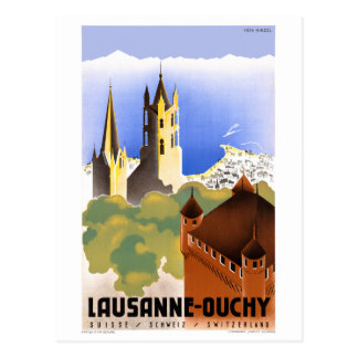 Poster van de Reis van Zwitserland Lausanne Ouchy Briefkaart