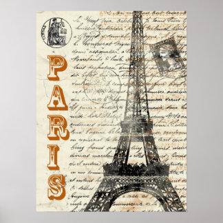 Poster van de Toren van Eiffel het Vintage Franse