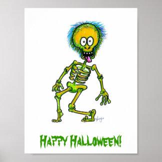 Poster van Halloween van het skelet het Gelukkige