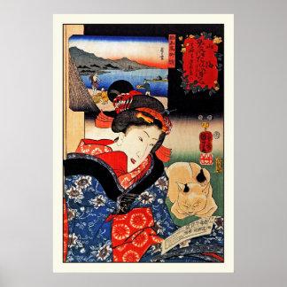 Poster: Vrouw met Kat - Japanse Kunst - Kuniyoshi Poster