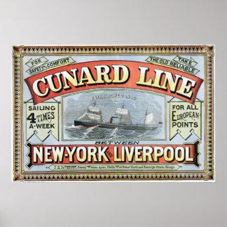 Poster York-Liverpool van de Lijn van Cunard het N