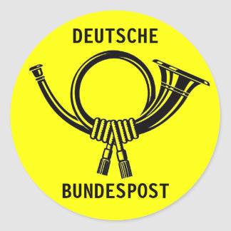 Posthorn DEUTSCHE BUNDESPOST yellow#1 Ronde Sticker