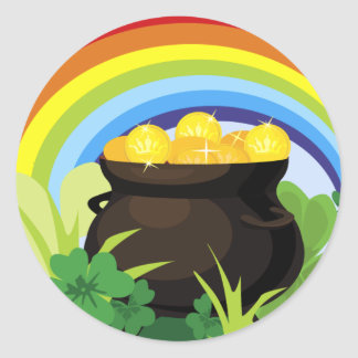 Pot van de Gouden St. Patrick van de Regenboog Ronde Sticker