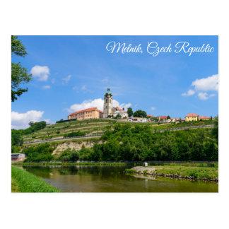 Potscard van het kasteel Mělník in Tsjechische Briefkaart
