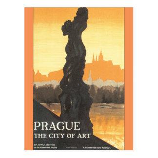 Praag de Stad van Poster van de Reis van de Kunst Briefkaart