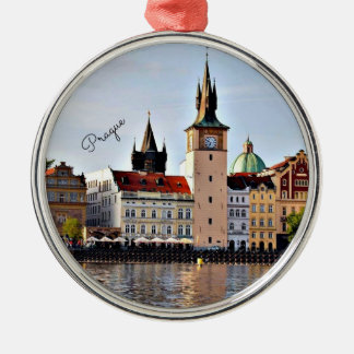 Praag, Tsjechische Republiek, cityscape Zilverkleurig Rond Ornament