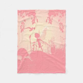 Prachtig feesilhouet in roze met vogels fleece deken