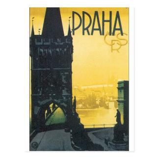 Praha het Vintage Poster van de Reis Briefkaart