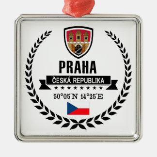 Praha Zilverkleurig Vierkant Ornament