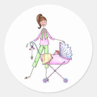 Preppy Nieuwe Mamma's met het Meisje van het Baby Ronde Sticker