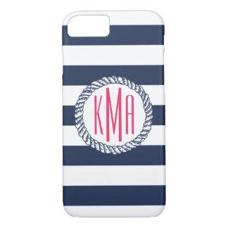 Preppy ZeevaartMarine & het Witte Roze Monogram iPhone 8/7 Hoesje