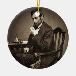 PRESIDENT ABRAHAM LINCOLN 1862 STEREOVIEW ROND KERAMISCH ORNAMENT