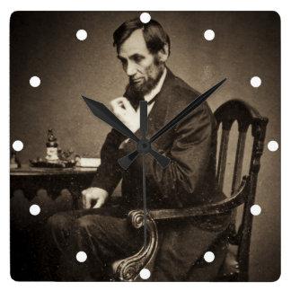 PRESIDENT ABRAHAM LINCOLN 1862 STEREOVIEW VIERKANTE KLOK