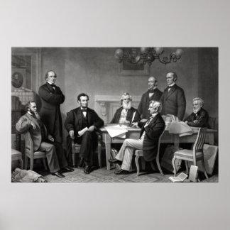 President Lincoln en Zijn Kabinet Poster