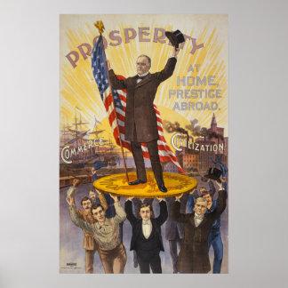 President McKinley die zich op een reuzemuntstuk b Poster