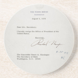 President Richard M. Nixon Resignation Brief Zandsteen Onderzetter