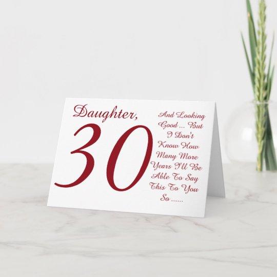 pret, 30ste verjaardag, dochter, rode en witte kaart | zazzle.nl