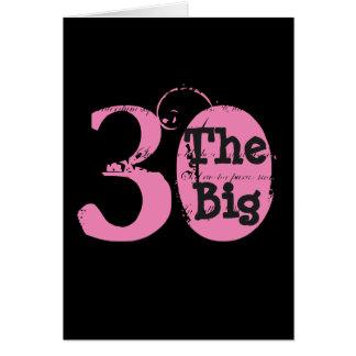 Pret, 30ste verjaardag, roze, zwarte tekst op wenskaart