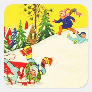 Pret Sledding van de Vakantie van de Winter van de Vierkant Stickers