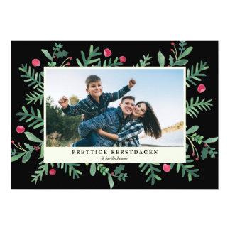Prettige Kerstdagen waterverf | Kerstkaart 12,7x17,8 Uitnodiging Kaart