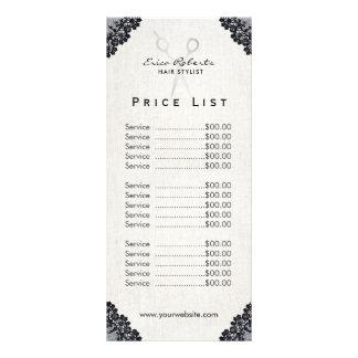 Prijslijst | Salon van het Kant van de Herenkapper 10,2x 22,9 Cm Reclamekaart