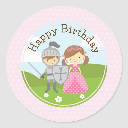 Princess and Knight 2inch round circle sticker