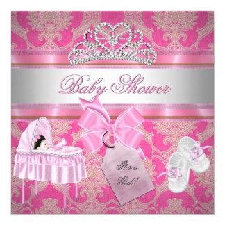 Prinses van het Meisje van het baby shower de Roze 13,3x13,3 Vierkante Uitnodiging Kaart