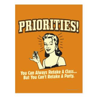 Prioriteiten: U kunt een Klasse altijd opnieuw Briefkaart