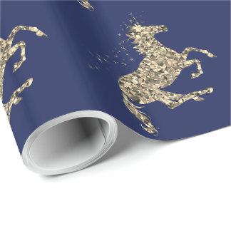 Prismatisch gouden eenhoorn blauw Verpakkend Inpakpapier