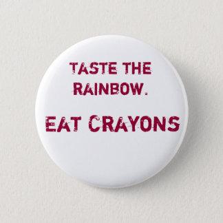Proef de regenboog ronde button 5,7 cm