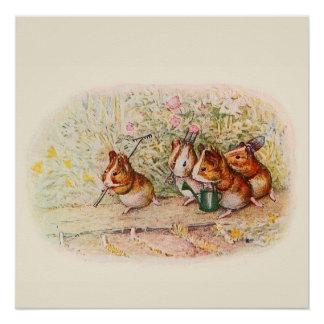 Proefkonijnen en de Hulpmiddelen van de Tuin Perfect Poster