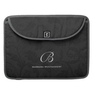 Professioneel Zwart Damast met Monogram Sleeves Voor MacBook Pro
