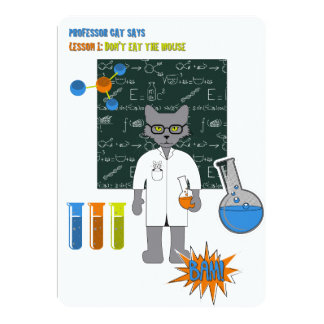 Professor Cat Invitation Card Kaart
