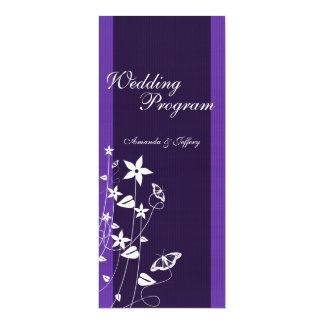 Programma   van het huwelijk de Paarse Vlinder van 10,2x23,5 Uitnodiging Kaart