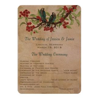 programma van het Huwelijk van de Vlek van de Thee 12,7x17,8 Uitnodiging Kaart