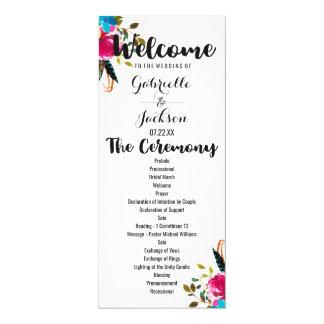 Programma van het Huwelijk van de Waterverf van 10,2x23,5 Uitnodiging Kaart