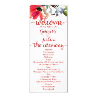 Programma van het Huwelijk van de Waterverf van de 10,2x23,5 Uitnodiging Kaart