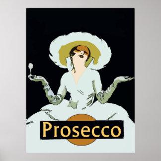 Prosecco, de Vintage Dame van de Stijl, Teken Poster
