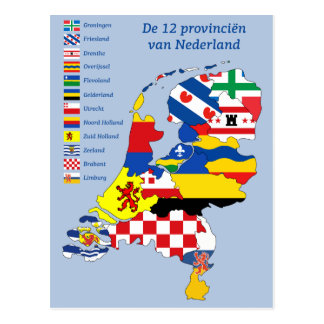 Province flag on Map Holland Briefkaart