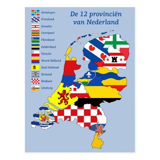 Province flag on Map Holland Briefkaart