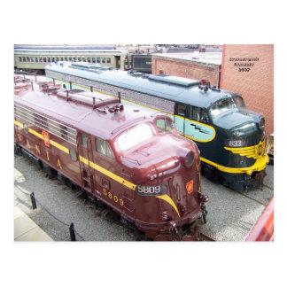 PRR E8A 5809 en ERIE E8A 833 in Steamtown Briefkaart
