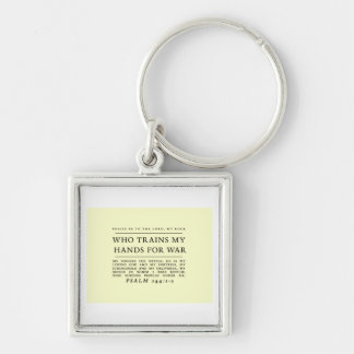 Psalm 144 Keychain Zilverkleurige Vierkante Sleutelhanger
