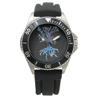 Psychedelic Tree 2 (blue) Horloge