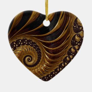 Psychedelische Fractal van de Chocolade Keramisch Hart Ornament
