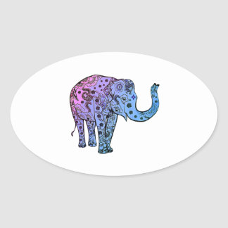 Psychedelische Groef Ovale Sticker