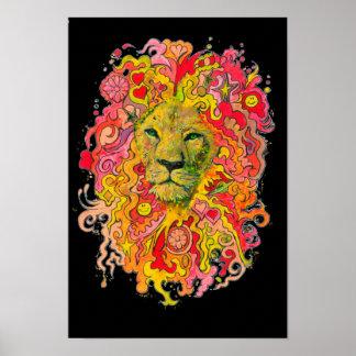 Psychedelische Leeuw Poster