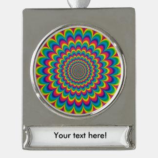 Psychedelische regenboog abstract ontwerp verzilverd banner ornament